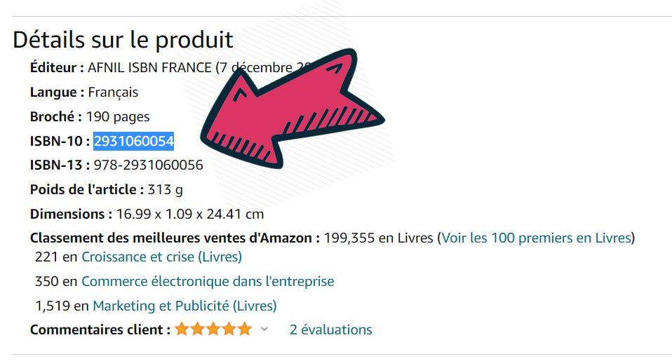 Comment trouver le code ISBN ou ASIN de son livre sur Amazon ?