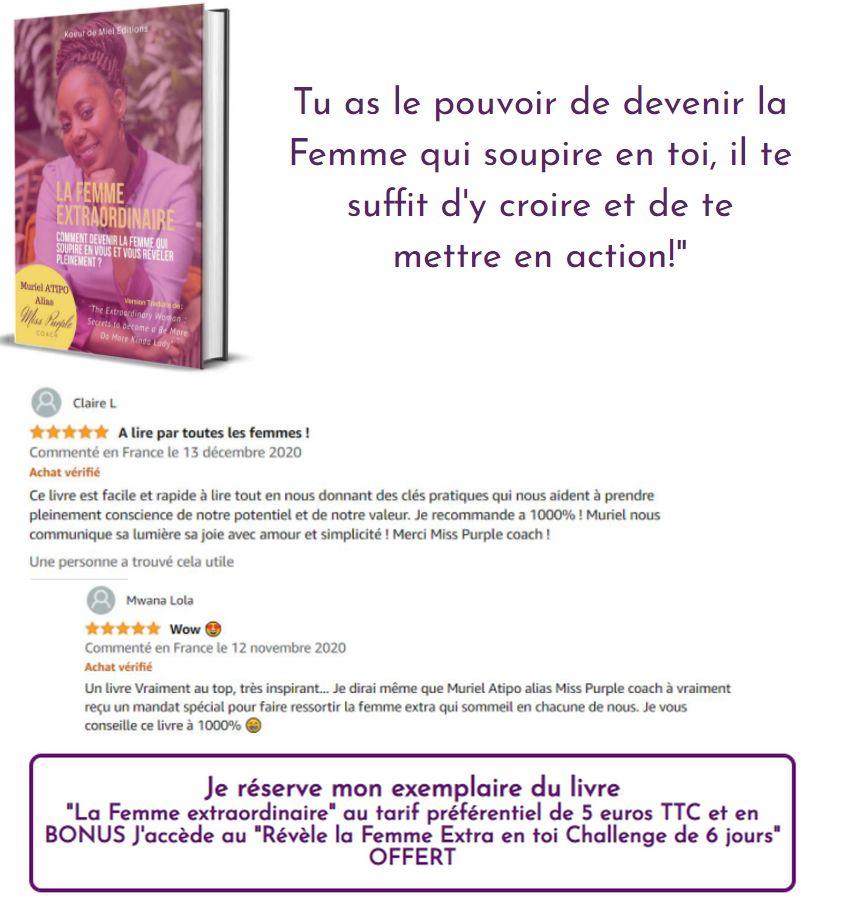 """Exemple d'une des clientes """"Publier pour Impacter"""" qui utilises les avis Amazon sur la page de vente de son livre."""